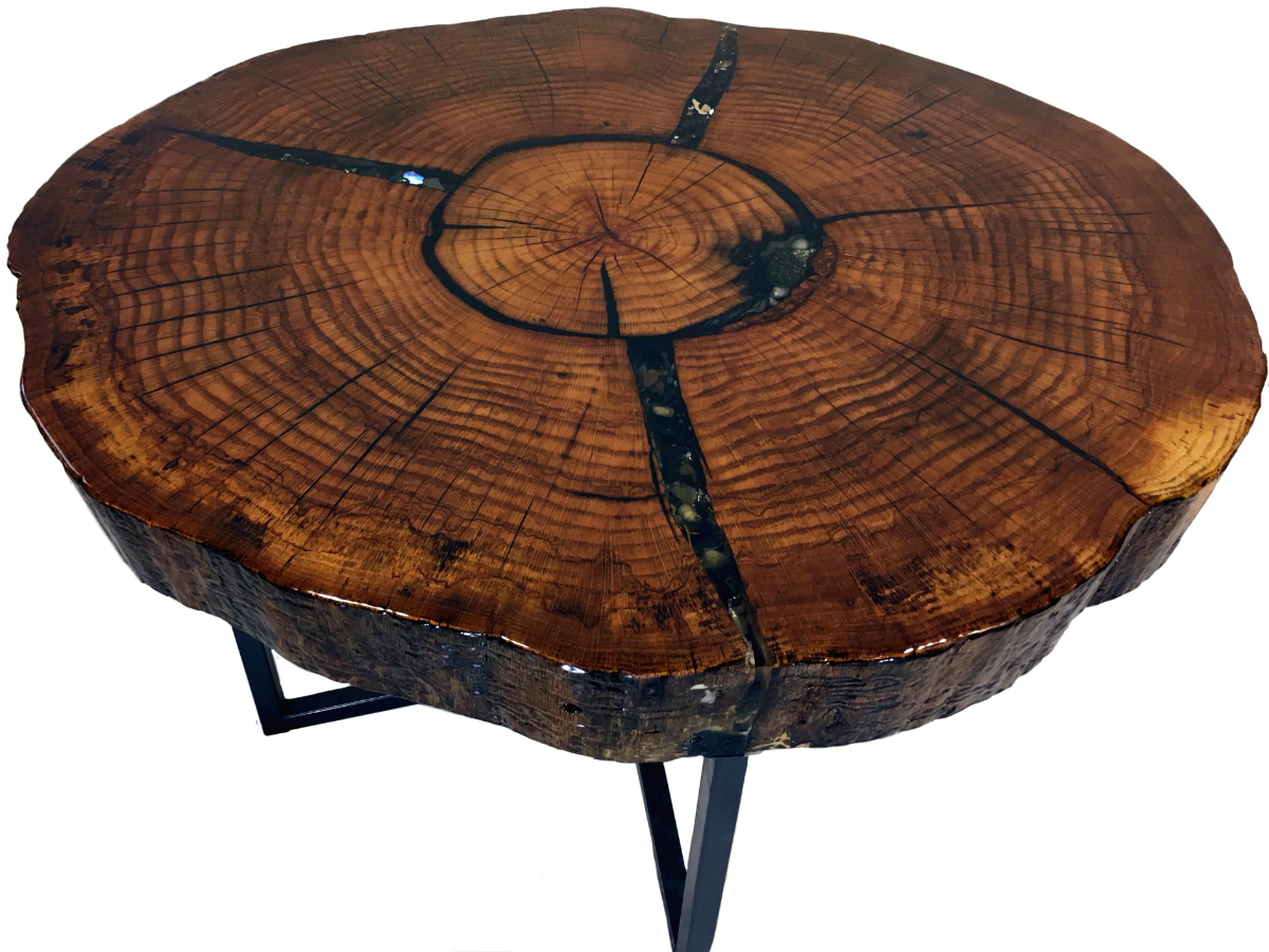 Solid Oak End Table With Inlay