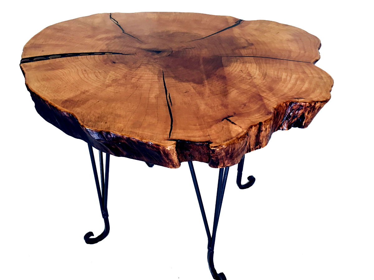 Solid Maple End Table, stone inlay