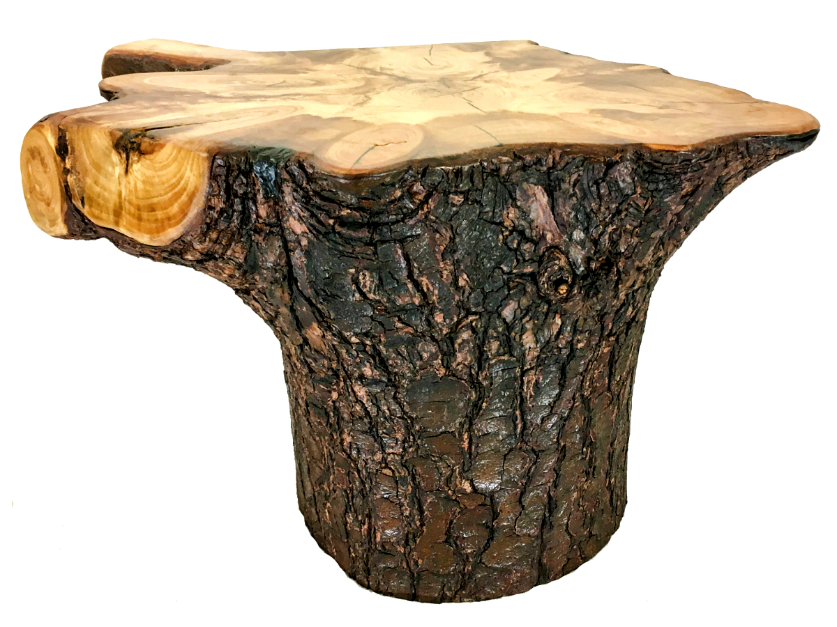 solid pine stump end table