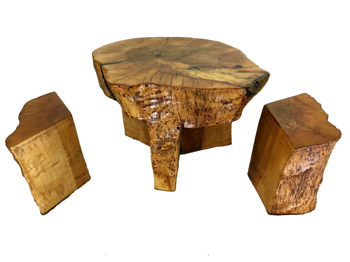 solid wood grandparent coffee table with stools