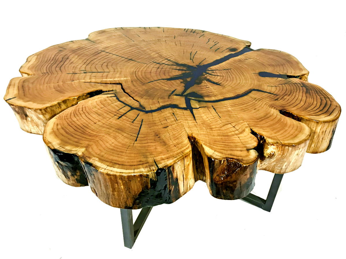 Unique and beautiful! That's what your friends will say when they see this live edge, Solid Reclaimed Cypress Wood Table in your home. This cypress tree slice reveals the intricate beauty of nature for all to see.